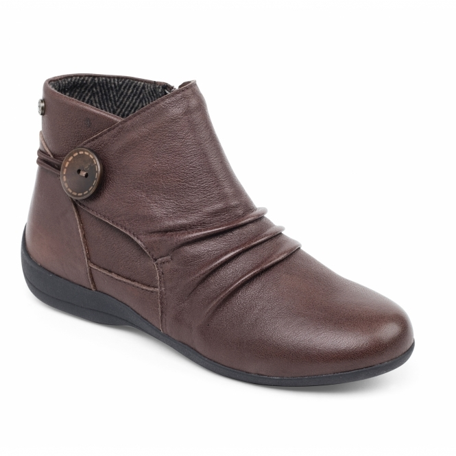Padders CARNABY Ladies Leather Extra Wide Fit Zip Boots Brown