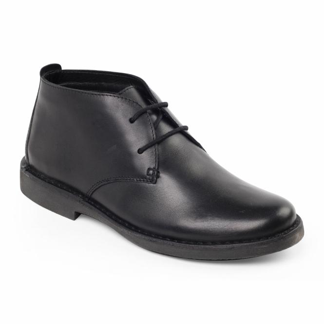 Padders JOE Mens Leather Wide Fit Desert Boots Black