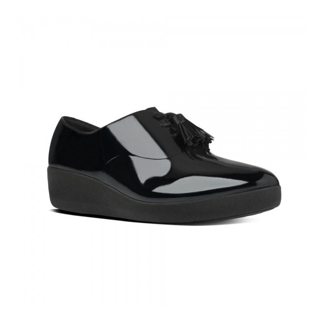 FitFlop™ CLASSIC TASSEL SUPEROXFORD™ Ladies Leather Shoes Patent Black