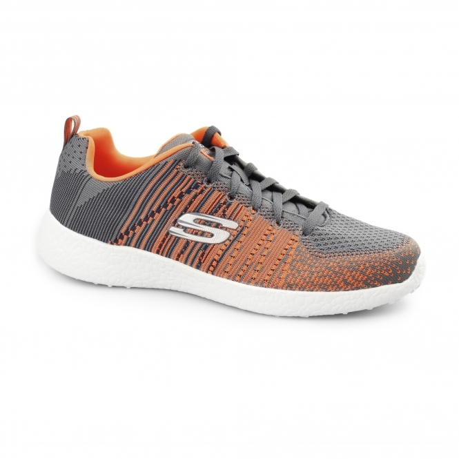Skechers BURST - IN THE MIX Mens Sports Trainers Charcoal/Orange