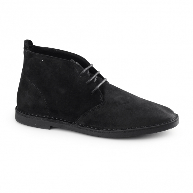 Hush Puppies NOLTON Mens Suede Desert Boots Black