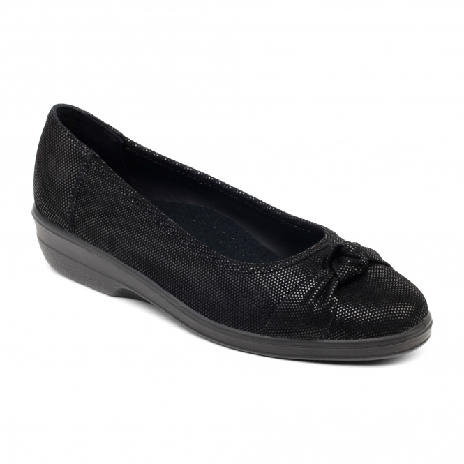 Padders FIONA Ladies Leather Extra Wide Pumps Black Reptile