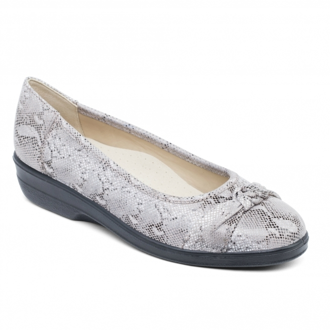 Padders FIONA Ladies Leather Extra Wide Pumps Taupe