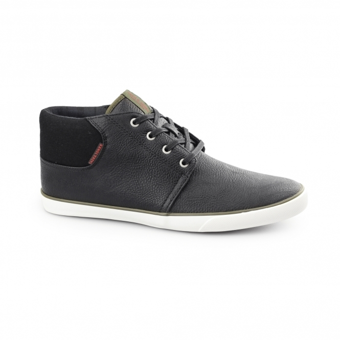 Jack & Jones VERTIGO Mens PU Mid-Top Trainers Anthracite