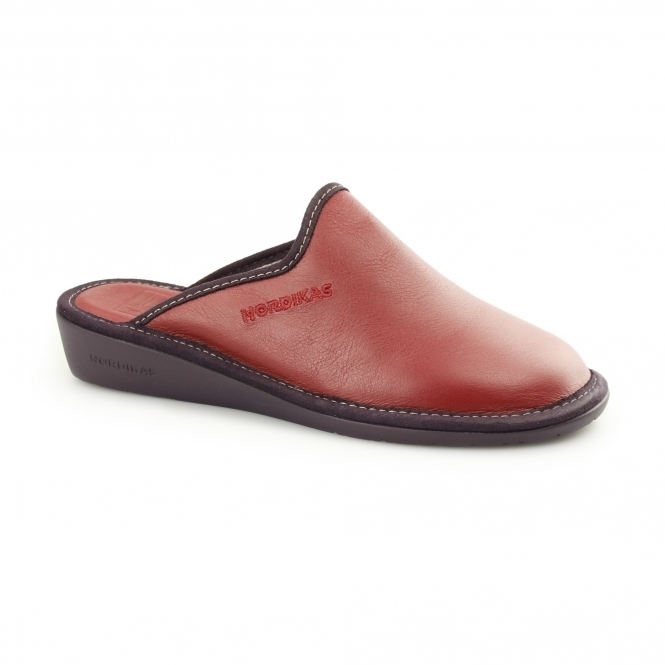 Nordikas 347 (OHIO) Ladies Leather Mule Slippers Red