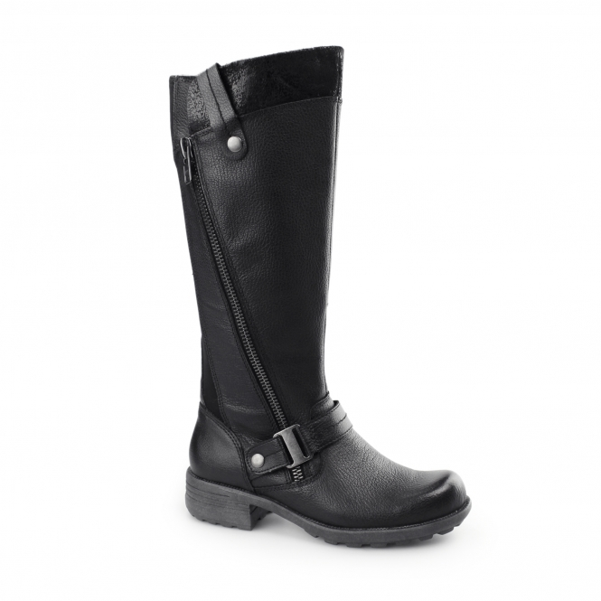 Earth Spirit SUFFOLK Ladies Leather/Textile Zip Tall Boots Black