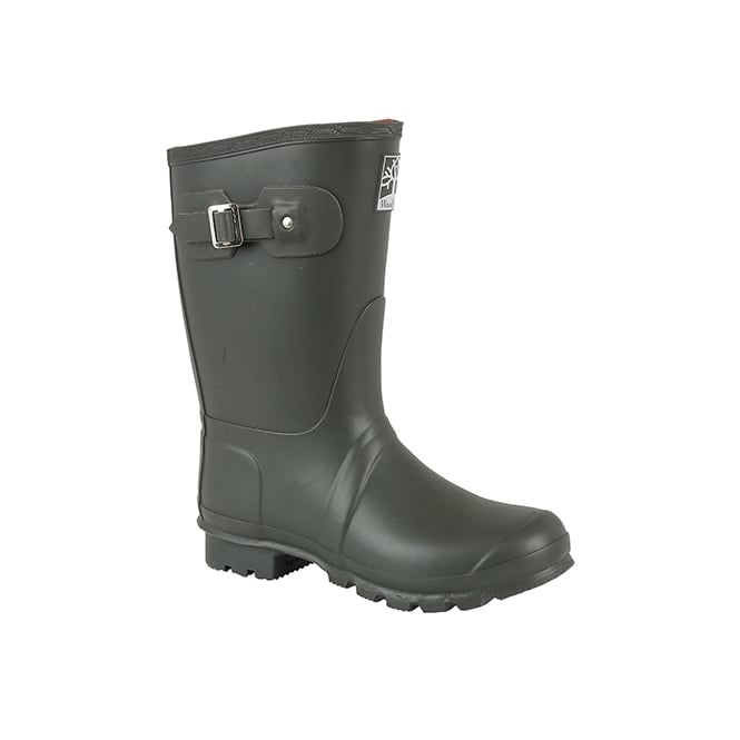 Woodland SHORT NEOPRENE Unisex Buckle Wellington Boots Olive Green