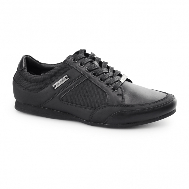 BambooA PHOENIX Mens Leather Lace Up Trainer Shoes Black
