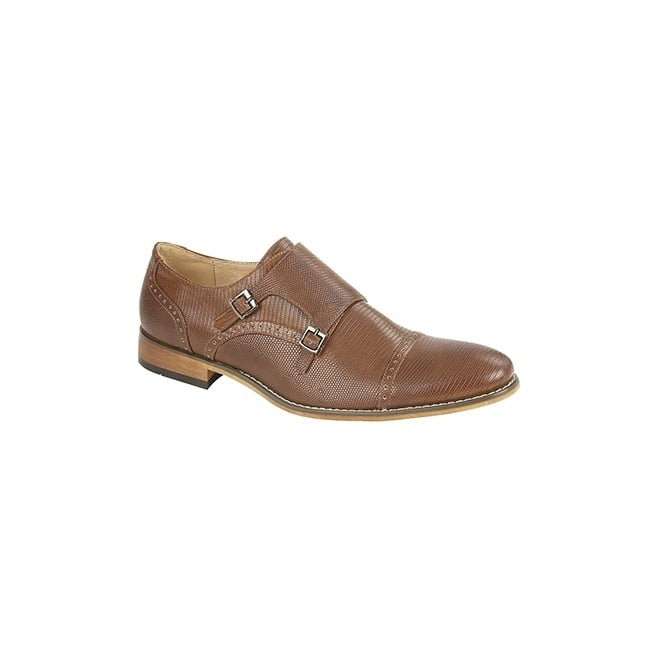 Goor CYRUS Men's Reptile PU Monk Strap Shoes Tan