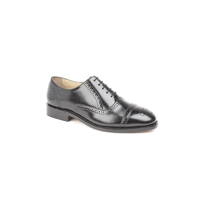 Kensington CHARLES Mens Hi-Shine Leather Brogue Shoes Black