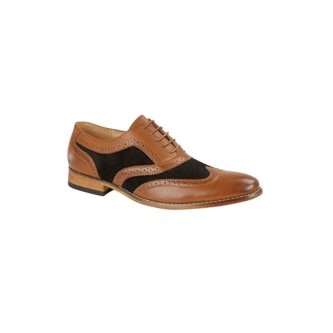 Goor DAVID Mens Leather Lined Oxford Brogues Tan/Black