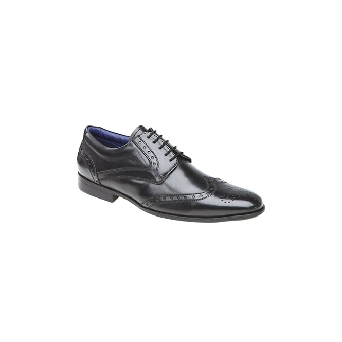 Route 21 RILEY Mens Leather Derby Brouge Shoes Black