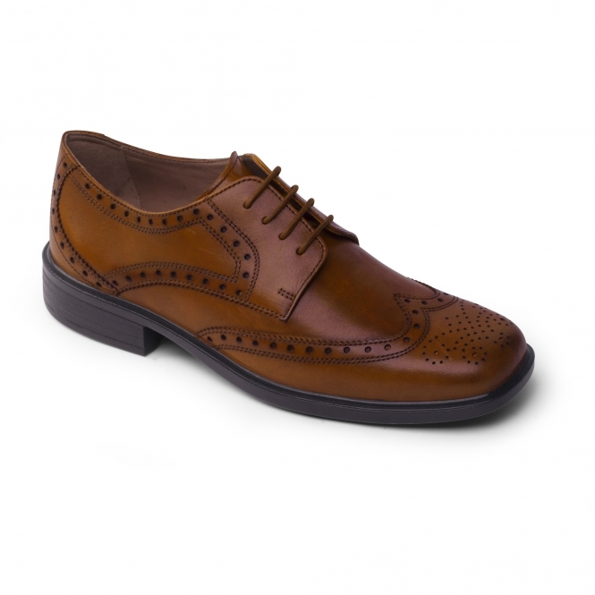 Padders REID Mens Leather Wide Oxford Brogue Shoes Light Tan