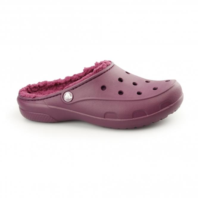 Crocs FREESAIL PLUSHLINED CLOG Ladies Croslite Warm Mule Clogs Plum