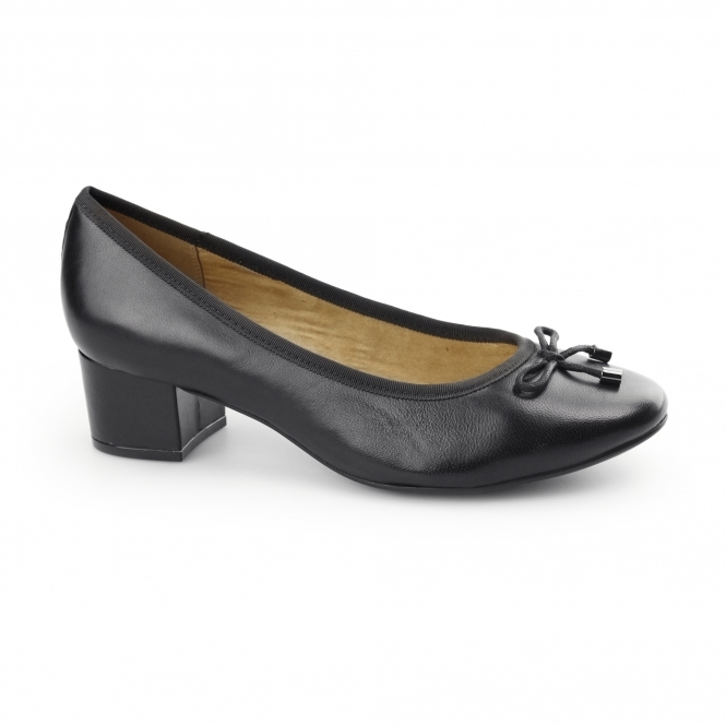 Hush Puppies NIKITA DISCOVER Ladies Leather Heeled Court Shoes Black