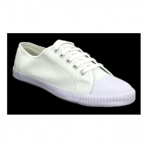 Senior Retro Toecap Lace Plimsolls White