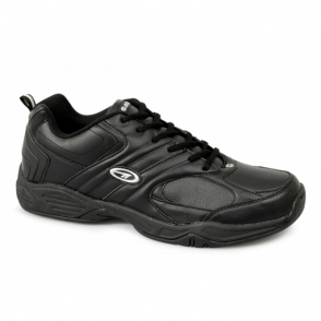 ARGON Mens Casual Leather Trainers Black