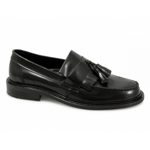 SELECTA Mens Polished Leather Tassel Loafers Black