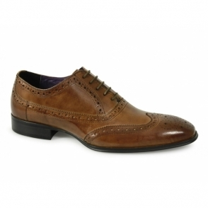 PARMA Mens Leather Lace Up Brogue Shoes Tan