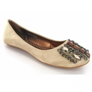 Ladies Slip On Chain Jewel Ballerina Pumps Shoes Gold