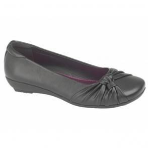 SISSI Ladies Sash Vamp Flat Pumps Shoes Black