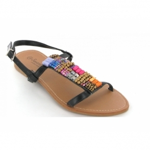 Ladies Flat Beaded Sandals Black