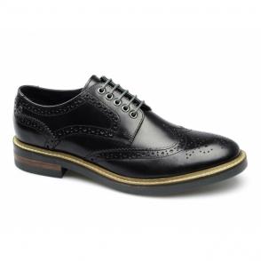 WOBURN Mens Leather Brogue Shoes Hi Shine Black
