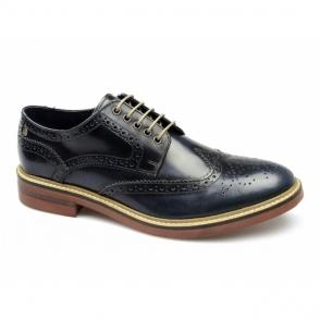 WOBURN Mens Leather Brogue Shoes Hi Shine Blue