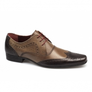 ELRICK Mens Leather Lace Up Brogue Shoes Brown/Tan