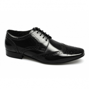 STATHAM Mens Leather Lace Up Brogue Shoes Hi Shine Black