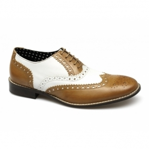 GATSBY Mens Leather Brogue Shoes Tan/White