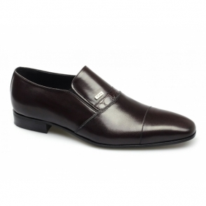 RAPHAEL Mens Leather Slip On Toe Cap Shoes Oxblood