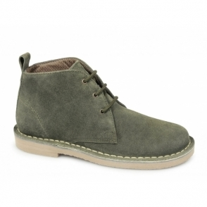 TRACY Ladies 3 Eye Suede Desert Boots Forest Green
