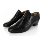 Rombah Wallace CARNABY Mens Pleated Leather Cuban Heel Shoes Black