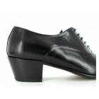 Shuperb DIEGO Mens Soft Leather Lace Up Cuban Heel Oxford Shoes Black