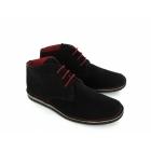 Ikon NOMAD Mens 3 Eyelet Suede Desert Boots Black And Red
