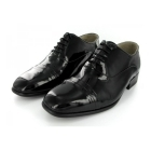 Montecatini Mens Patent Leather Folded Cap Oxford Shoes Black (Wide Fit)