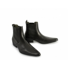 Ikon REVOLVER Mens Cuban Heel Pointed Leather Chelsea Boots Black