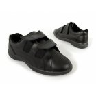 Boulevard REX Womens Twin Velcro Extra Wide Leather Shoes (EEE Fit) Black