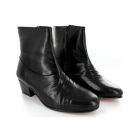 Rombah Wallace CURZON Mens Cuban Heel Pleated Leather Boots Black