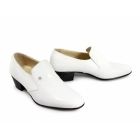 Shuperb NASSER Mens Soft Leather Plain Cuban Heel Shoes White