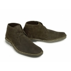 Roamers Mens 2 Eye Shaped Toe Leather Desert Boots Dark Brown