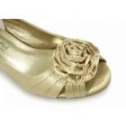 Comfort Plus ENYA Ladies Wide E Fit Slingback Satin Shoes Gold