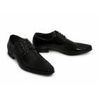 Goor MORGAN Mens 4 Eyelet Pointed Patent Dress Shoes Black