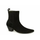 Paolo Vandini VEER XII Mens Suede Winklepicker Cuban Heel Boots Black