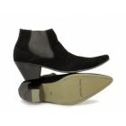 Paolo Vandini VEER III Mens Suede Winklepicker Cuban Heel Boots Black