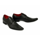 Paolo Vandini VEER I Mens Leather Winklepickers Shoes Black