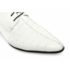Rossellini PARIS Mens Funky Pointed Patent Shoes White