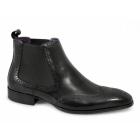 Gucinari EDWARD Mens Chelsea Gusset Brogue Boots Black