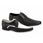 Ikon JAM Mens Leather Pointed Shoes Black & White
